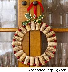 eco-friendly wine cork jingle bell wreath