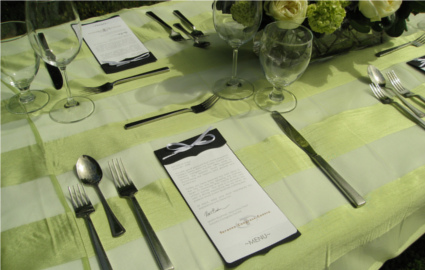 place card, table setting, green