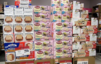 Matzos on an endcap display