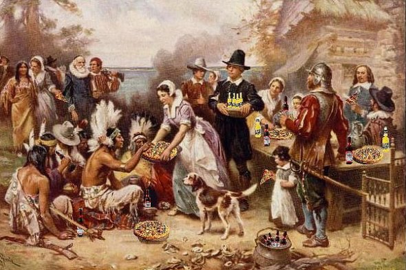 a portrait of the first Thanksgiving with beer bottles and pizzas doctored in