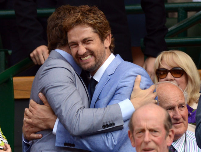 Bradley Cooper and Gerard Butler Hug at Wimbledon