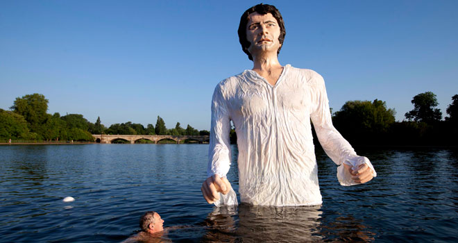 Giant Statue of Colin Firth as Mr. Darcy