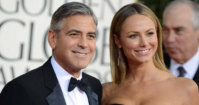 George Clooney and Stacy Keibler at the 2013 Golden Globe Awards