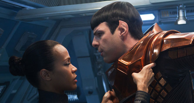 Zoe Saldana and Zachary Quinto in 'Star Trek Into Darkness'