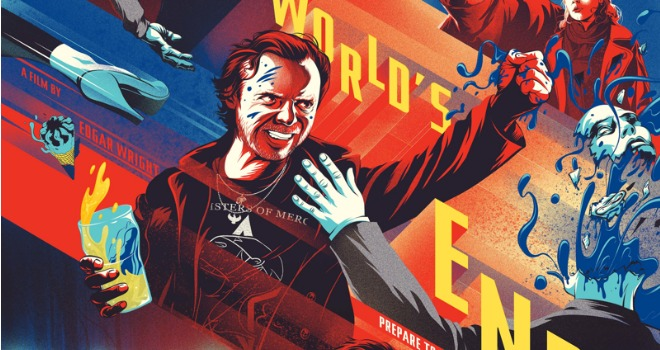 the worlds end mondo 660 The Worlds End Mondo Poster: Simon Pegg, Blue Robot Blood, and Ice Cream Are a Visual Treat (EXCLUSIVE)