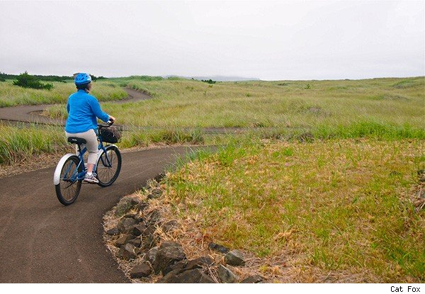 Bike ride on cloudy day in Washington state's Long Beach Peninsula