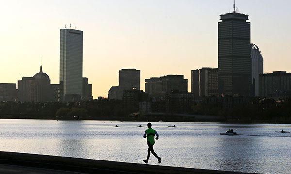 Boston Massachusetts runner skyline