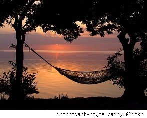 vacation home with hammock on lake