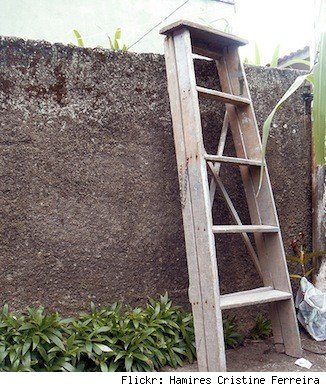 Leaving a ladder outside your home could give burglars easy access to second-story windows.