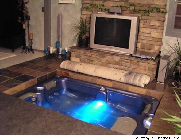 diy coolness a hot tub in the living room that 39 s how matthew cole rolls