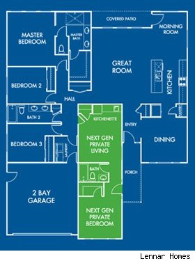 multigenerational home design, Lennar