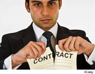 Breaking a real estate contract.