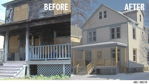 Peter King, Ann O'Connor home in Syracuse, N.Y., before and after the fire.