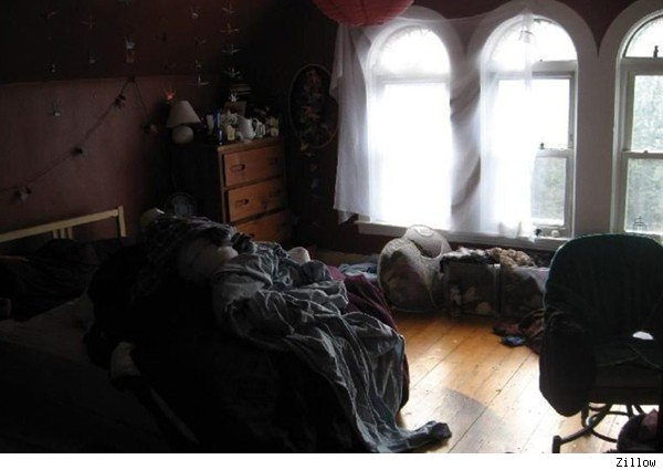 Listing photo of messy apartment in Allston, Mass.