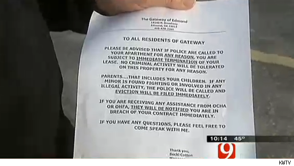 Gateway of Edmond notice to tenants