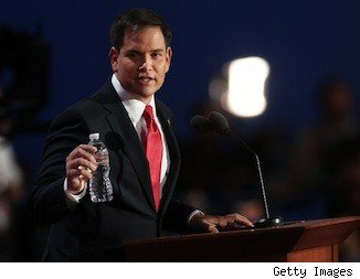 Marco Rubio and water bottle