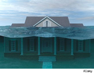 Underwater home: negative equity.