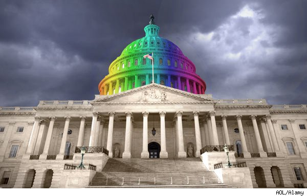 Gay-pride-colored Capitol dome