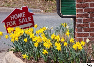 home for sale sign in flower bed