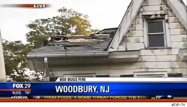 roof of philadephia home that caught fire in attempt to eliminate bed bugs, shown in screen grab from WTXF-TV