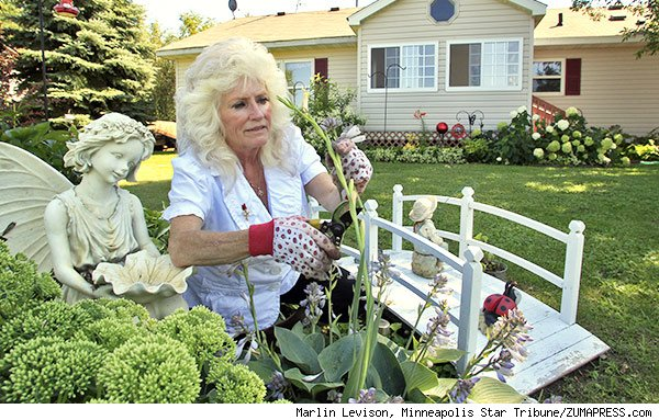Mardee Jerde tends garden at home in Rush City MN
