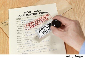 mortgage application form stamped as rejected