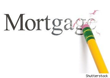 the word mortgages being erased by a pencil eraser