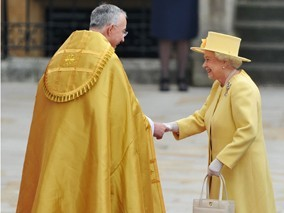 Queen Elizabeth II Wears Canary Yellow Angela Kelly Design to Royal Wedding