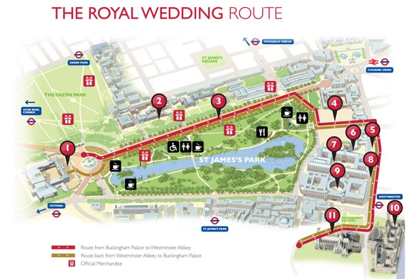 royal wedding route map