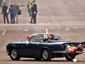 Newlyweds William and Kate Ride Off in Blue Convertible