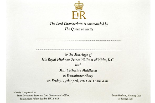 Royal Wedding Invite List