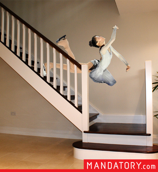 Olympic Figure Skaters Falling Down Stairs Mandatory