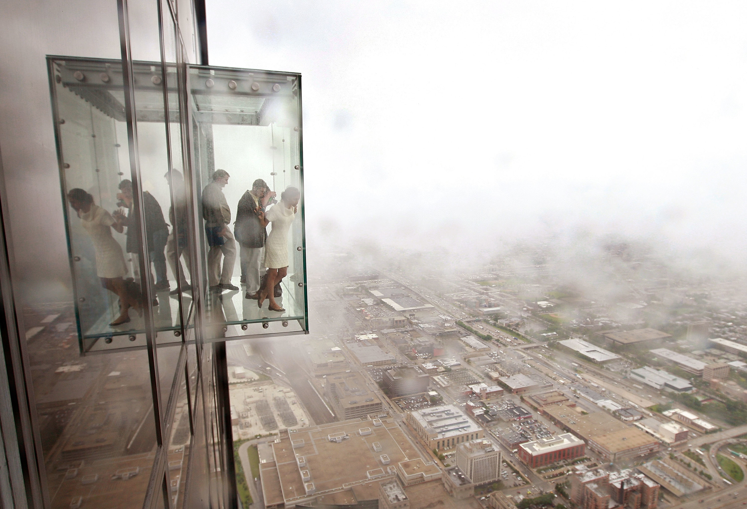protective coating on willis tower ledge cracks under