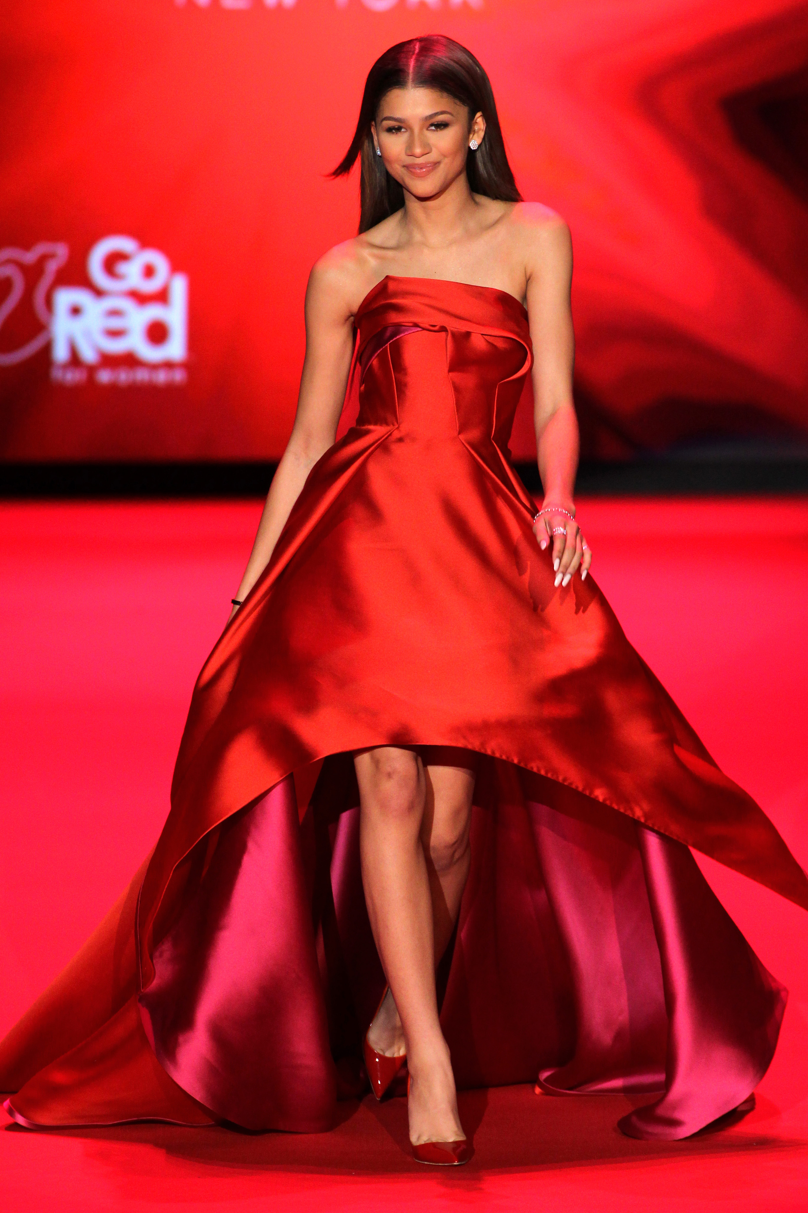 Go red for women red dress collection runway mercedes benz f 1