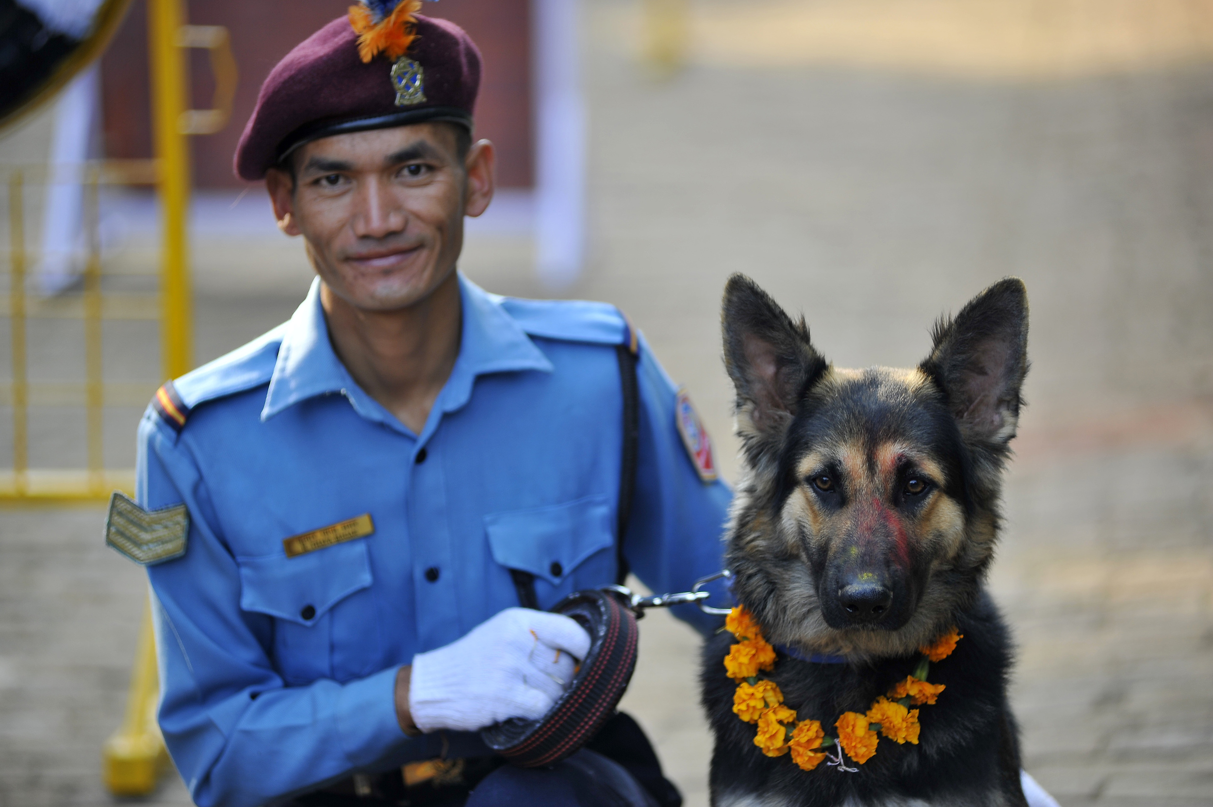 Nepal police officer along with their dogs attends Kukur
