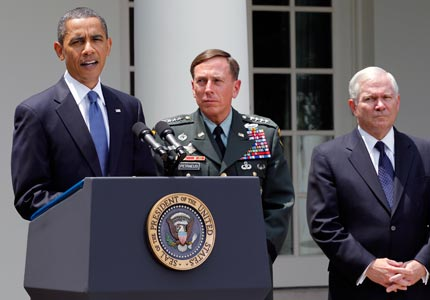 Chain of command: President Obama, joined by Gen. David Petraeus and Defense Secretary Robert Gates, announces the dismissal of Gen. Stanley McChrystal.