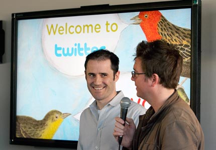 Will tweet for food: Twitter co-founders Evan Williams and Biz Stone.