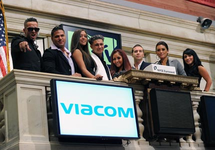 Shore thing: The cast of Jersey Shore rings the opening bell at the New York Stock Exchange.