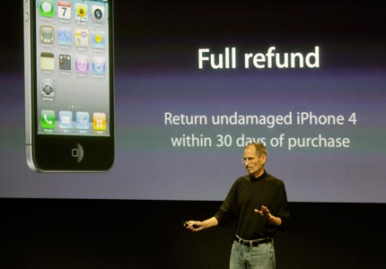 Sour apple: A defensive Steve Jobs addressed iPhone 4 problems and offered free cases to all customers.