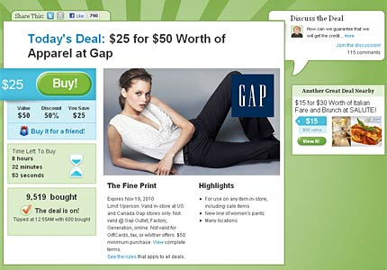 Crash landing: Groupon's site crashed after offering an unusual Gap deal of the day.