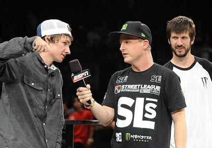 A league of his own: Street League Skateboarding founder Rob Dyrdek interviews skateboarders Shane O'Neill and Chris Cole.
