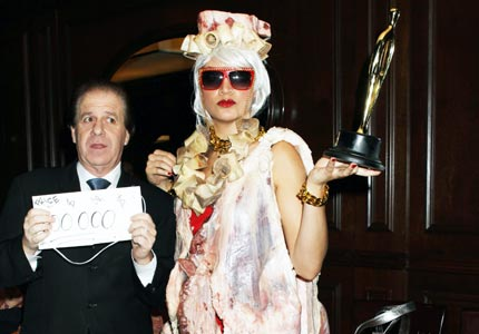 lady gaga meat dress photos. When Lady Gaga strutted to the