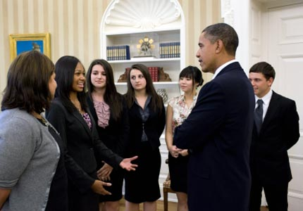 Big meeting: Winners of NFTE's National Youth Entrepreneurship Challenge met with President Obama on Tuesday.