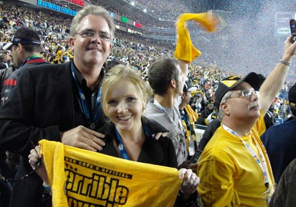 Gregg McArthur, creator of the Pittsburgh Steelers' Terrible Towel, with his daughter and marketing manager Lexie McArthur.