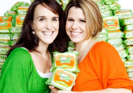 Moms to the rescue: Julie Pickens and Mindee Doney came up with the idea for Boogie Wipes after one of their six kids got sick.