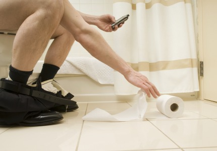 Potty mouth: More than half of people admit to using their cell phones in the bathroom.