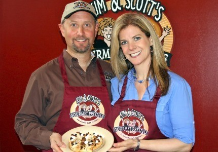 Tying the knot: Frustrated with their day jobs, Kim and Scott Holstein decided to start their own pretzel company.