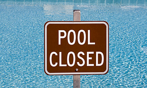 Find the 'pool closed' sign
