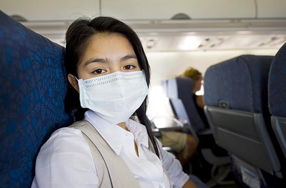 True or false? The recycled air in an aeroplane cabin quickly spreads germs and sickness