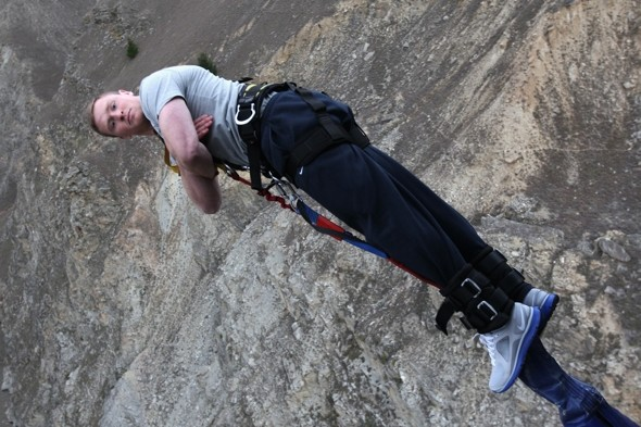 Chris Ashton keeps his cool on the 134-metre bungee. Photo: Getty